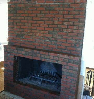 brick fireplace change opening for new custom screen
