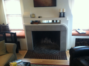 fireplace remodel before