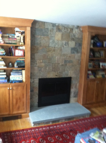 North Andover Fireplace facelift over old ugly brick
