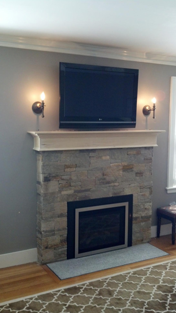 Boston Fireplace Living room design Painted fireplace update